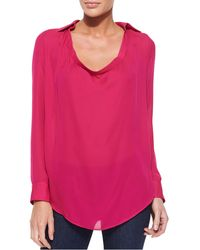 Haute Hippie Collared Cowlneck Blouse French Kiss - Lyst