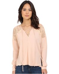 Brigitte Bailey - Adley Front Tie Top With Lace Detail - Lyst