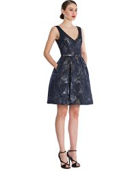 Theia Metallic Floral Print Aline Dress - Lyst