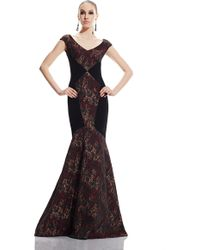 Theia | red Brocade Inset Mermaid Gown | Lyst