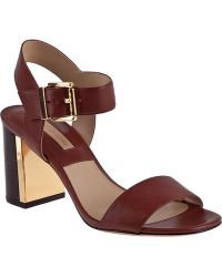 Michael Kors Lorah City Sandal Dark Walnut Leather brown - Lyst