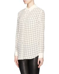 Equipment Reese Grid Print Silk Shirt - Lyst