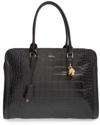 Alexander McQueen 'Padlock' Croc-Embossed Leather Duffel Bag - Lyst