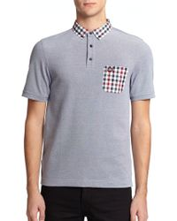 Fred Perry Gingham-Trimmed Pique Polo Shirt - Lyst