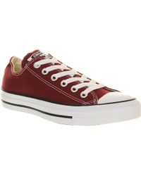 Converse All Star Lowtop Trainers Maroon Canvas - Lyst