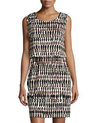 Lafayette 148 New York Printed Drape-Back Sleeveless Dress - Lyst
