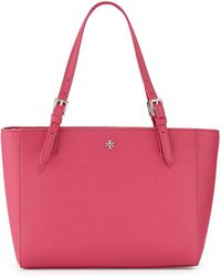 Tory Burch York Saffiano Leather Tote Bag Carnation Red - Lyst
