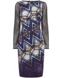 Karen Millen Zig Zag Check Print Dress - Lyst