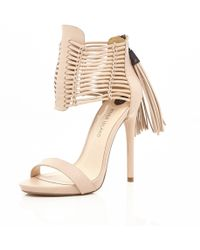 River Island Light Pink Strappy Tassel Platforms - Lyst