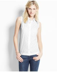 Ann Taylor Laser Cut Cotton Sleeveless Shirt - Lyst