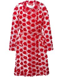 Simone Rocha Floral Embroidered Belted Coat - Lyst
