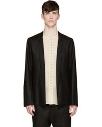 Nude:mm - Black Linen Buttonless Blazer - Lyst