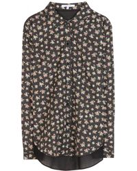 Carven Floralprint Meshback Cotton Shirt - Lyst