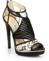 Jimmy Choo Lythe Mixed-Media Sandals - Lyst