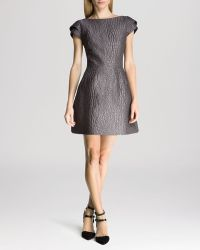 Halston Heritage Dress - Cap Sleeve Scoop Back Jacquard - Lyst