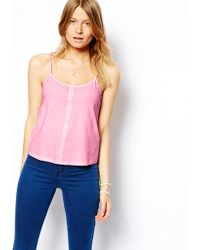 Asos Cami Top with Button Detail - Lyst