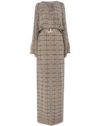 Temperley London Long Faye Check Off Shoulder Dress - Lyst