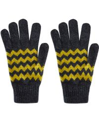 Howlin' By Morrison - Grey Zion Chevron Knit Lambswool Gloves - Lyst