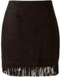 Tamara Mellon Black Suede Fringed Skirt - Lyst