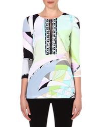 Emilio Pucci Embellished Printed Top Green - Lyst