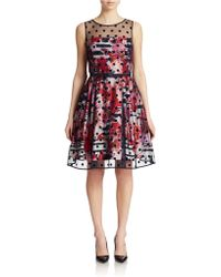 Eliza J Illusion Dot Fit And Flare Dress - Lyst