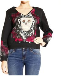 John Richmond Sweater V Fleece in Neoprene with Catacombs Print - Lyst