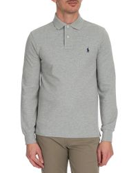 Polo Ralph Lauren Grey Long-Sleeved Slim-Fit Polo - Lyst