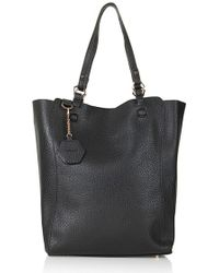 Topshop Women'S 'Hex' Faux Leather Tote - Black - Lyst