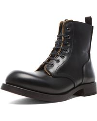 Alexander McQueen Combat Leather Boots with Zipper - Lyst