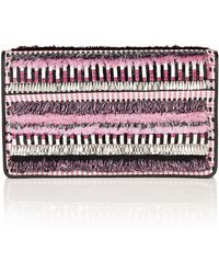 Matthew Williamson Geometric Embroidered Leather Clutch Bag - Lyst