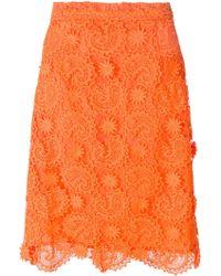 House of Holland Paisley Lace Skirt orange - Lyst