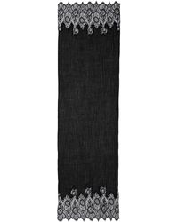Valentino Lace Border Wool-Silk Scarf black - Lyst