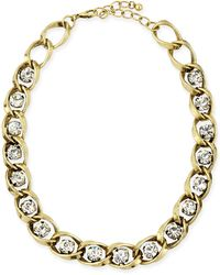 Panacea Golden Chain & Crystal Collar Necklace - Lyst