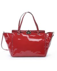 Valentino Red Patent Leather Studded Convertible Trapeze Tote - Lyst