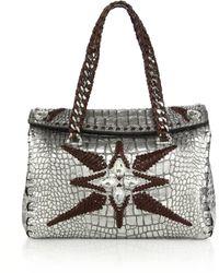 Roberto Cavalli Woman Stitched Metallic Crocodile-Embossed Satchel - Lyst