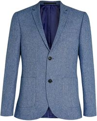 Topman Light Blue Textured Skinny Fit Suit Jacket - Lyst