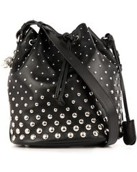 Alexander McQueen Padlock Studded Leather Bucket Bag - Lyst