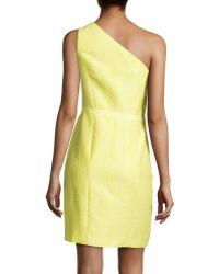 Halston Heritage Oneshoulder Jacquard Dress - Lyst