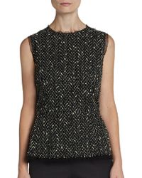 Dolce & Gabbana Sleeveless Tweed Chevron Top - Lyst