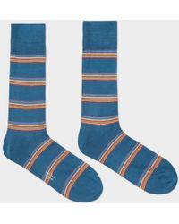Paul Smith | Men's Petrol Blue Multi-stripe Block Socks | Lyst