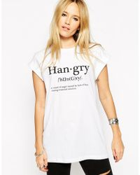 Asos T-Shirt With Hangry Print white - Lyst