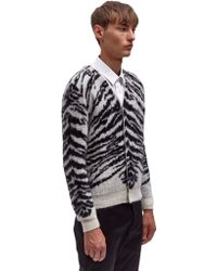 Saint Laurent Mens Jacquard Tiger Cardigan - Lyst