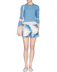Tory Burch 'Brielle' Watercolour Feather Print Silk Shorts - Lyst