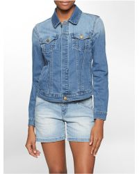 Calvin Klein Jeans Light Wash Denim Trucker Jacket - Lyst