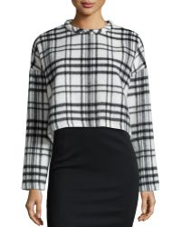 Nicholas - Check-print Cropped Sweater - Lyst