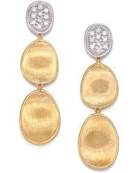 Marco Bicego Lunaria Diamond & 18K Yellow Gold Triple-Drop Earrings - Lyst