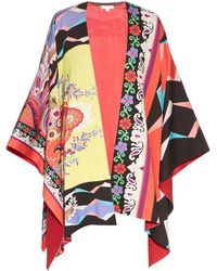 Etro | Floral And Geometric-print Cotton Poncho | Lyst
