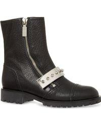 Alexander McQueen Mcq Leather Studded Plate Biker Boots Black - Lyst