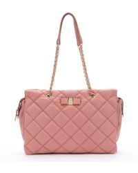 Ferragamo Blush Quilted Leather Large 'Ginnette' Shoulder Bag - Lyst