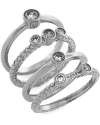 Cole Haan - Cubic Zirconia Stacked Ring Set - Lyst